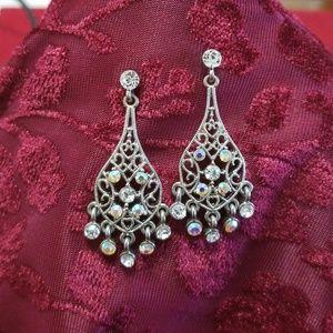 Chandelier Silver Pierced Earrings w/ Stones